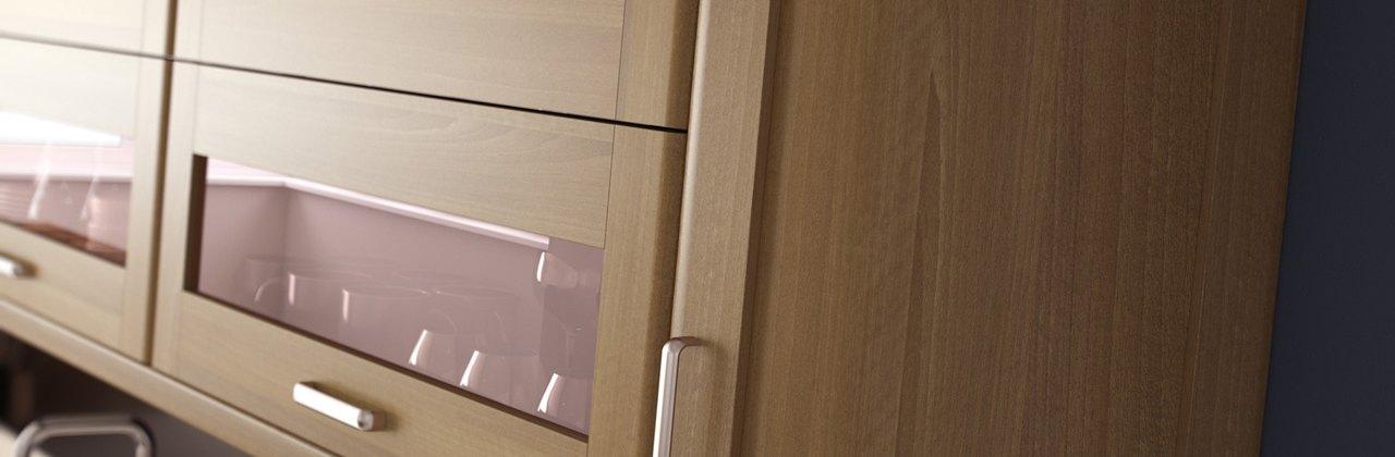 Ohio light walnut shaker style curved doors-kitchen centre liverpool